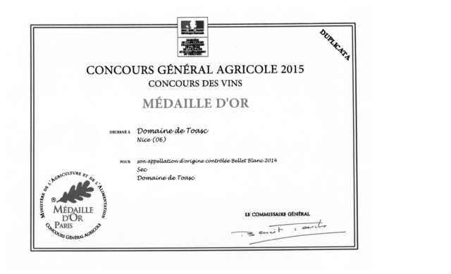 GOLD MEDALS - CONCOURS GENERAL AGRICOLE 2015  - Blanc AOP 2014