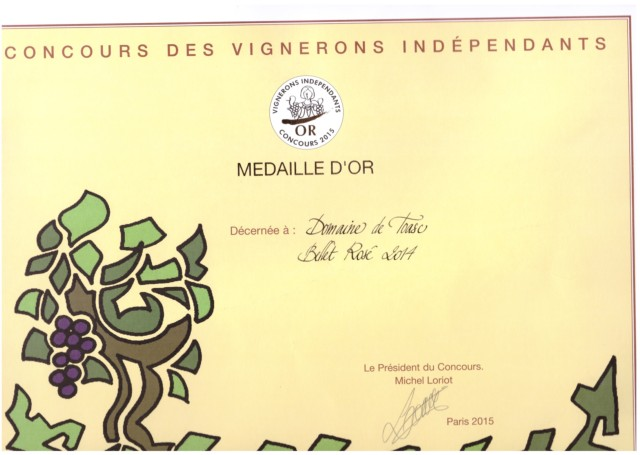 GOLD MEDAL AT THE CONCOURS DES VIGNERONS INDEPENDANTS FOR THE AOP BELLET ROSE 2014
