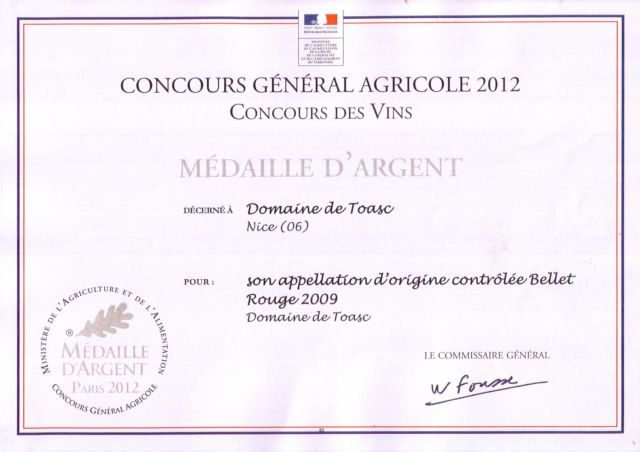 SILVER MEDALS - CONCOURS GENERAL AGRICOLE 2012  - Rosé 2011