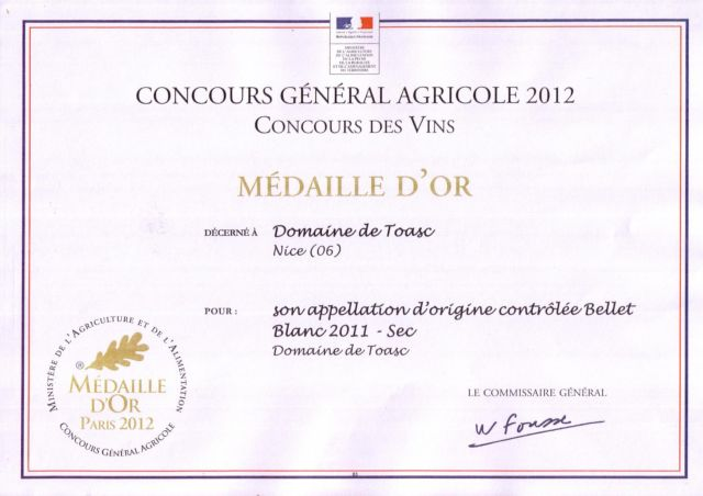 GOLD MEDALS - CONCOURS GENERAL AGRICOLE 2012  - Blanc 2011