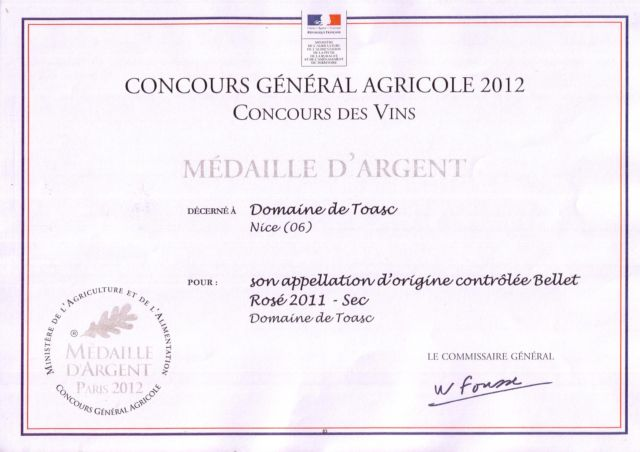 SILVER MEDALS                                                                                    CONCOURS GENERAL AGRICOLE 2012  - Rouge 2009